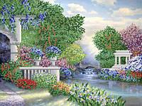 Ткань с рисунком для вышивания бисером Парк цветов РКП-583