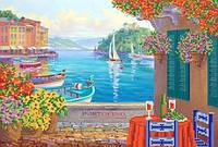 Ткань с рисунком для вышивания бисером Ресторанчик у моря РКП-580