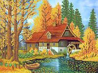 Ткань с рисунком для вышивания бисером Мельница в лесу РКП-581