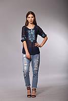Синяя блуза вышиванка из шифона