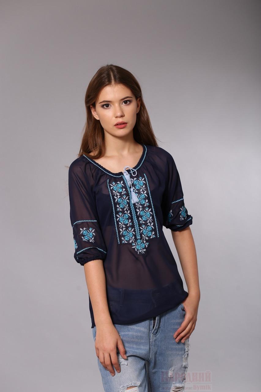 41e878ef35f Синяя блуза вышиванка из шифона - Народный бутик - интернет магазин  вышиванок. Вышитые платья