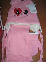 Детский набор шапочка , шарфик и варежки  Глазки для девочки 1 - 3 года Турция