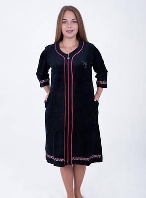 Велюровый женский халат Однотонный , фото 2