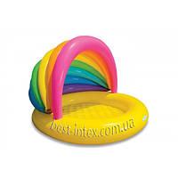 Intex 57420 (155х135х104 см.) Надувной детский бассейн с тентом Ракушка Rainbow Shade Baby Pool