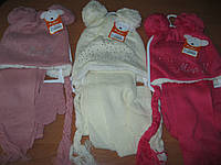 Детский теплый комплект на махре  из шапочки, шарфика и варежек для девочки 1-3 года Турция