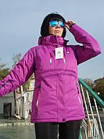 Лыжная куртка женская мембранная ветроизоляционная водоотталкивающая Salomon сиреневая высокое качество