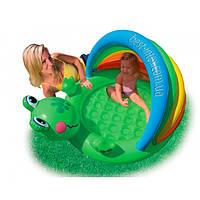 Intex 57416 (114х99х69 см.) Детский надувной бассейн с капюшоном Веселый лягушонок