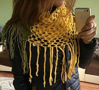 Молодежный вязанный женский шарф-шаль