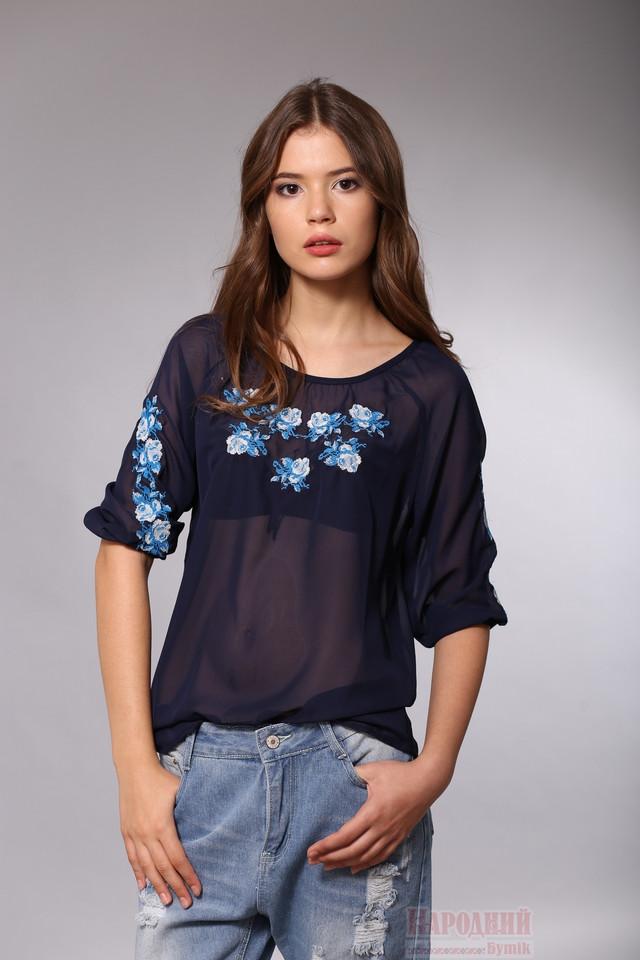 Блуза с вышивкой из темно синего шифона
