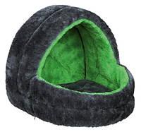Лежак для мелких животных, 25 х 25 х 29 см, плюш, серый/зеленый