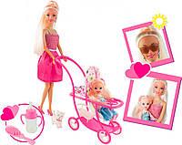 Семейная прогулка, набор с куклой 28 см. и маленькой куклой 11 см, коляска с собачкой, Ася (35087)
