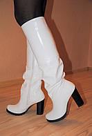 Сапоги демисезонные белые на устойчивом каблуке натуральная кожа код 700/1