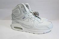Мужские зимние белые кроссовки Найк 1019-4 натуральная кожа код 3021А