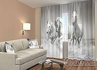 """ФотоШторы """"Тройка лошадей"""" 2,5м*2,6м (2 полотна по 1,30м), тесьма"""