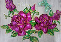Витражная роспись розы