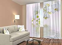 """ФотоШторы """"Нежность с веточкой белоснежных орхидей"""" 2,5м*2,9м (2 полотна по 1,45м), тесьма"""
