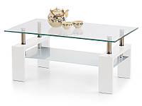 Журнальный столик со стеклянной столешницей Halmar Diana Intro белый лак