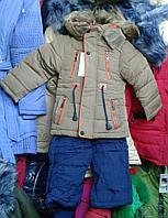 Куртка Комбинезон зимняя  для мальчика 2-5 года,хаки с синими штанами