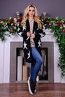 Черный женский теплый кардиган Милен Звезды Modus  44-48 размеры