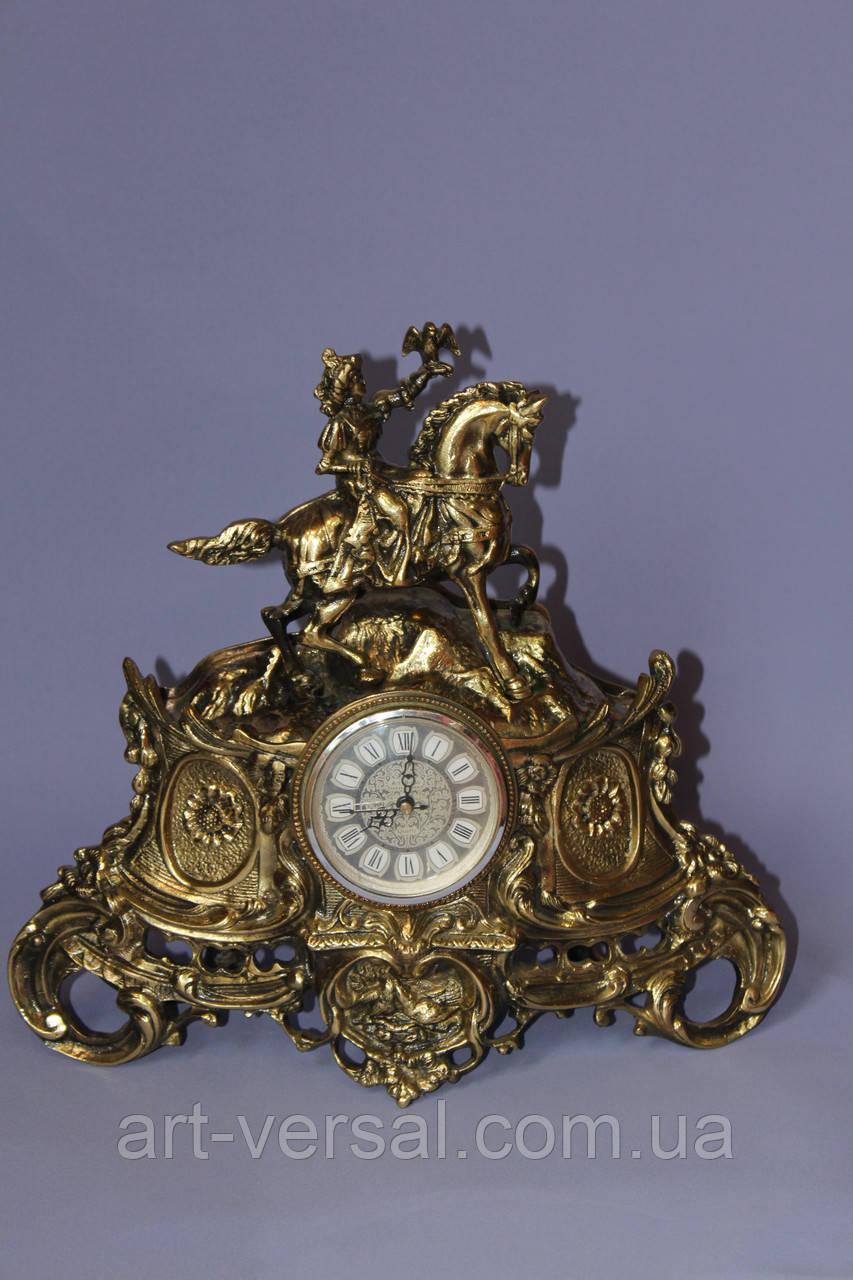 "Часы ""Амазонка"" из бронзы каминные"
