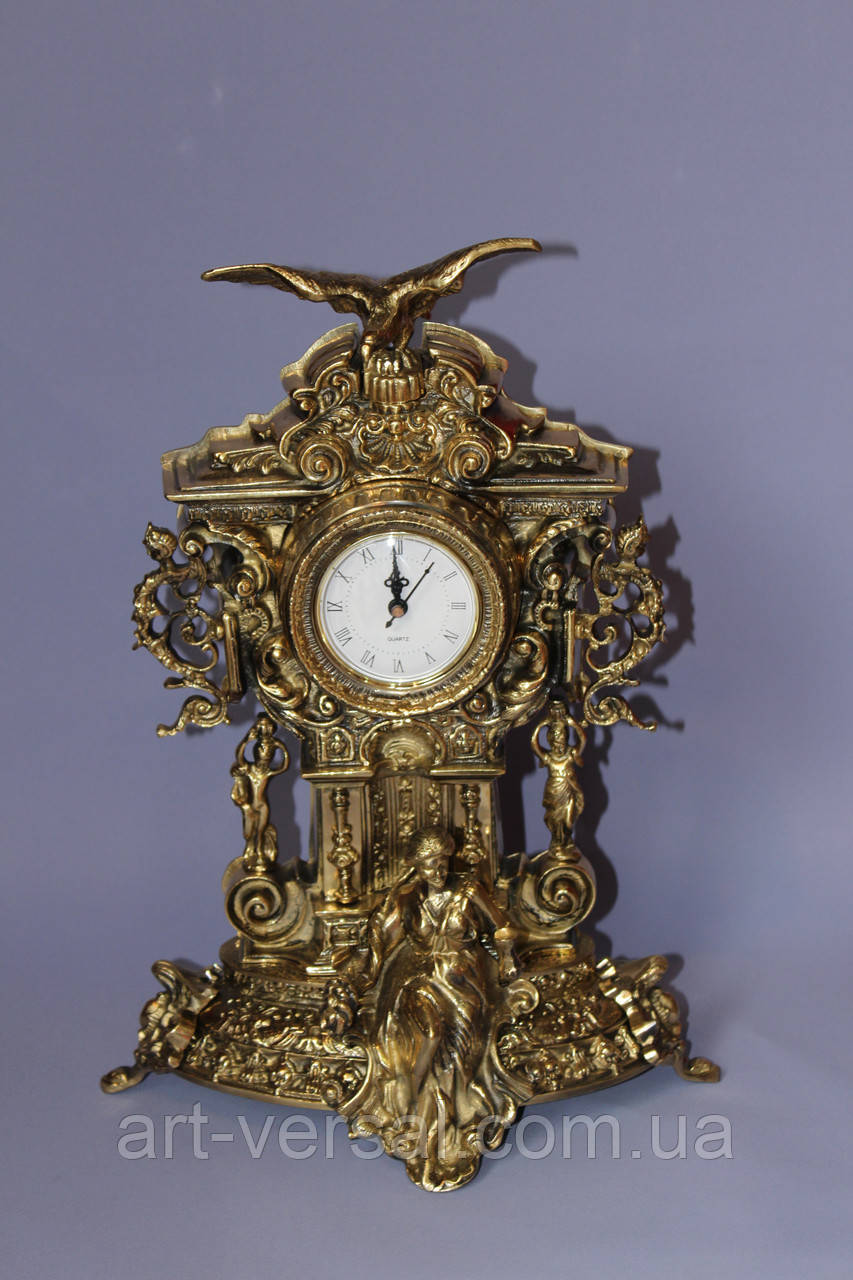 """Часы каминные """"Хранитель Времени"""" бронза"""