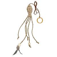 """Игрушка для кошки """"Рыбка"""" на резинке, 27см., текстиль/перья."""