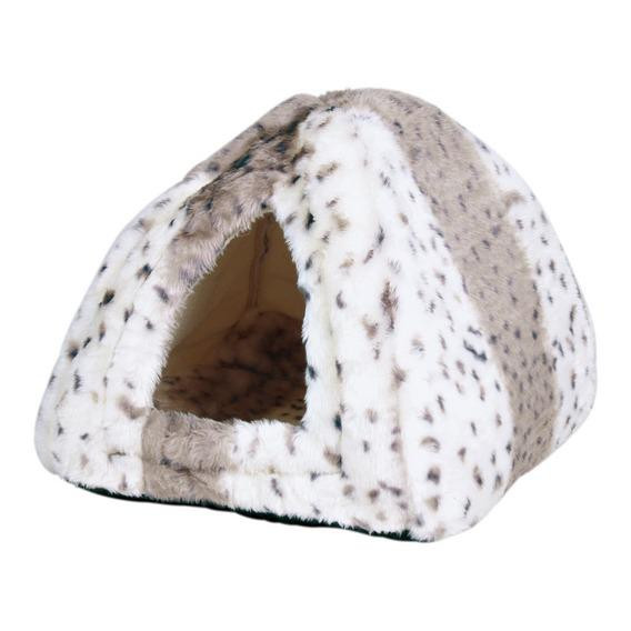 """Лежак-пещера для кошки """"Leila"""" 40х40х30 см, плюш, беж./белый - Интернет-зоомагазин «Усатый-Полосатый» в Днепре"""