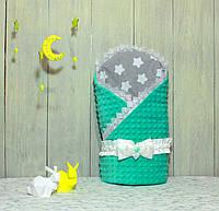 """Конверт-одеяло на выписку Piccolino """"Mint Stars"""""""