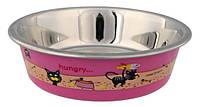 Миска для кошки, металл. с цветным пластиковым покрытием 0,225 л/ø 12 см, фото 1