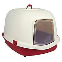 """Кошачий туалет-домик 'Primo"""" , 56 х 47 х 71 см, бордовый/кремовый"""