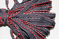 Кант текстильный (50м) т.серый+красный+белый