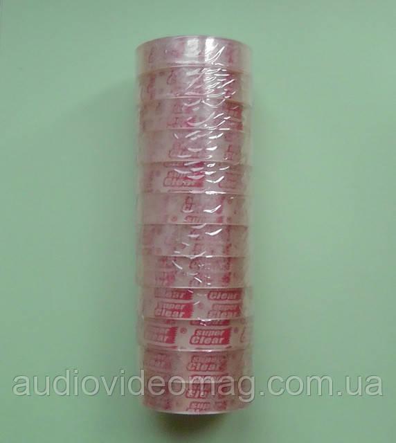 Скотч малый узкий прозрачный, 12мм х 25м, упаковка (12 штук)
