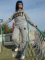 Спортивный трикотажный костюм теплый на флисе женский без молнии серый брюки ровные