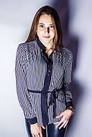 Блуза большого размера Полоска  р.52-56 синий