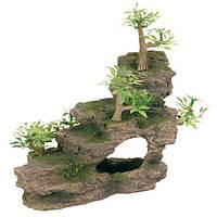 """Грот """"Каменная лестница с растениями"""", 19,5 см, пластик"""