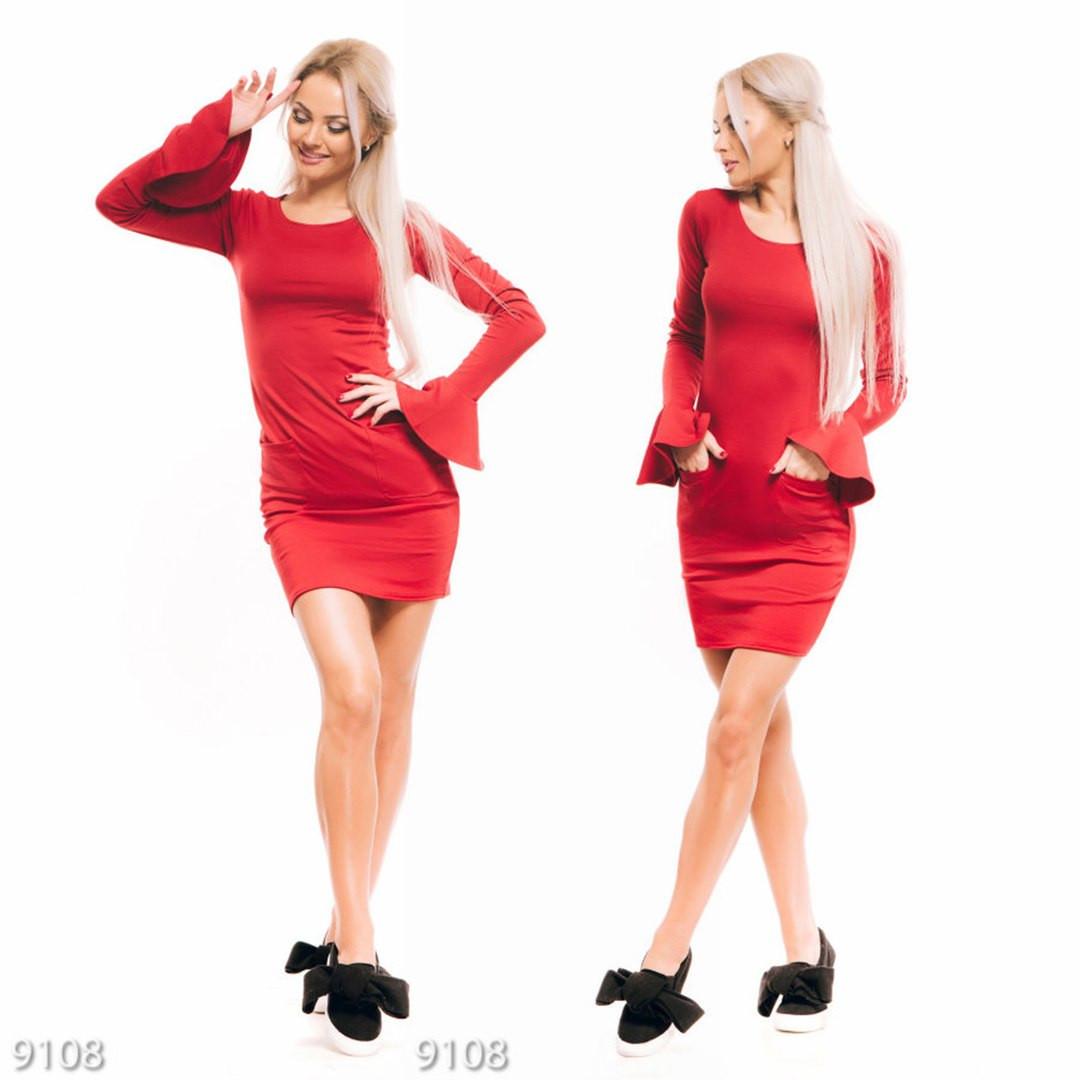7ee04e57570 Красное облегающее платье с карманами и воланом на рукавах - Стильная  женская одежда оптом и в