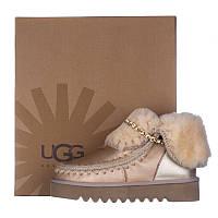 Угги женские кожаные UGG AUSTRALIA T16025-HD золотистые