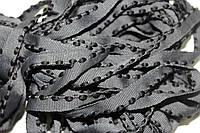 Кант текстильный (50м) т.серый+черный