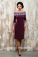 Бордова сукня з вишивкою