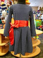 Нарядное платье для девочки, синее в горошек с бантом 104, 110, 116, 122