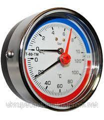 Манометр с термометром (термоманометр) осевой МТ-80-ТМ-О