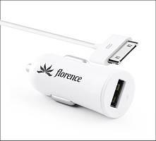 Автомобильное зарядное устройство Florence USB + cable iPhone 4/4S white