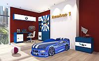 """Комплект детской мебели для комнаты """"Детская комната AUTO.BMW синяя"""""""