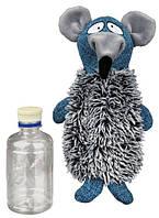 Игрушка Крыса с бутылкой, 21 см, плюш/текстиль/пластик