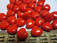 """Бусина акриловая """"сердечко"""" красная, диаметр 10 мм, уп.10 шт. Осталсь 1 уп.а"""