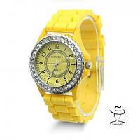 Яркие женские Наручные Часы Geneva Блеск Желтые в Наличии
