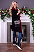 Женский черный жилет с меховыми карманами Ника Modus    44-48 размеры