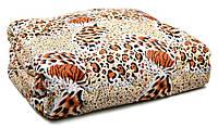 Одеяло полуторное 1,5 Овечья Шерсть 150х210 см. Теплое шерстяное одеяло (леопард)!