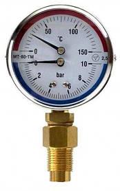 Манометр с термометром (термоманометр) радиальный МТ-80-ТМ-Р