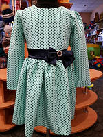 Нарядное платье для девочки, мятное в горошек с бантом 104-122